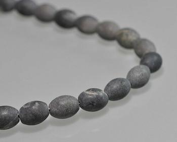 "Barrel Black Matt Finish Stone Beads 8x10mm | Sold by 1 Strand(7.5"") | BS0121"