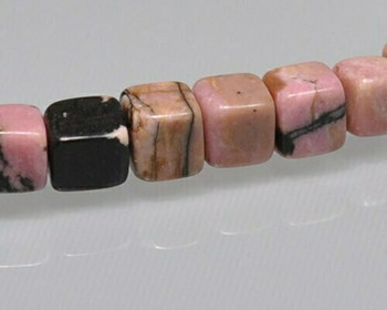 """Cube Pink & Black Rhodonite Beads 5mm 