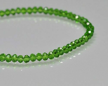 "Briolette Fem Green Crystal Beads 3x 4.5mm | Sold by 1 Strand(9-10"") 