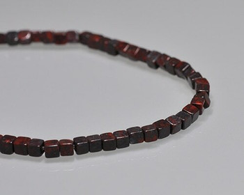 """Cube Dark Red Brecciated Jasper Beads 4-4.5mm 