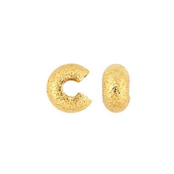 Base Metal Gold-Plated Stardust Crimp Bead Cover 5mm 12pc | Sold by 12Pc/Pk | 628311