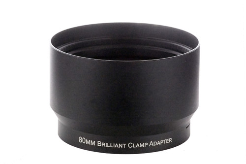 80mm Brilliant clamp adapter - clamps on 80mm lens barrels to attach Brilliant Macro lenses to base lenses with 80mm lens barrels.