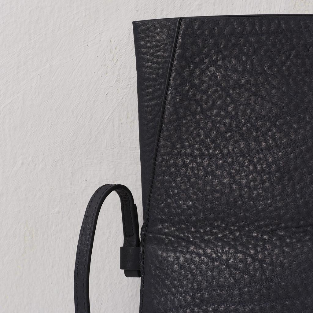 Black Nappa Fold-over Bag