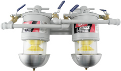 00-MMV Baldwin Two Marine Diesel Fuel Filter/Water Separators Manifolded with Shut-Off Valves U.L. Listed. Meets U.S. Coast Guard requirements.