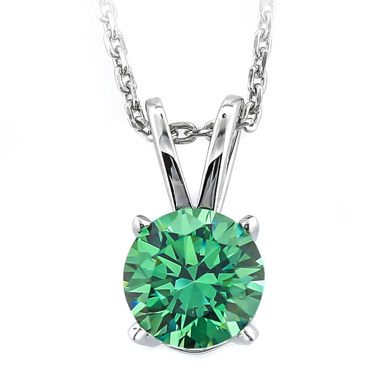 1 carat fancy green round necklace 2 carat swarovski zirconia solitaire necklace available in 10 stone colors aloadofball Choice Image
