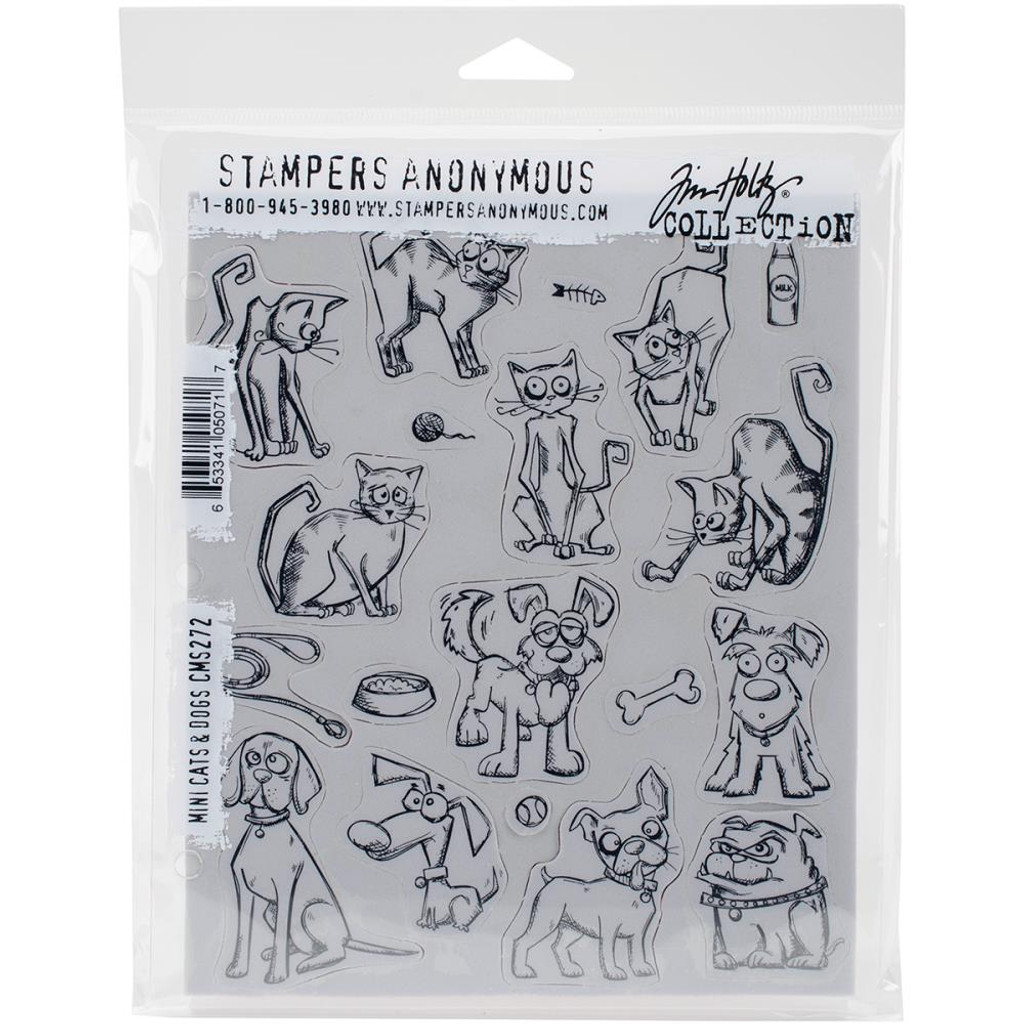 "Tim Holtz Cling Stamps 7""X8.5"" - Mini Cats and Dogs"