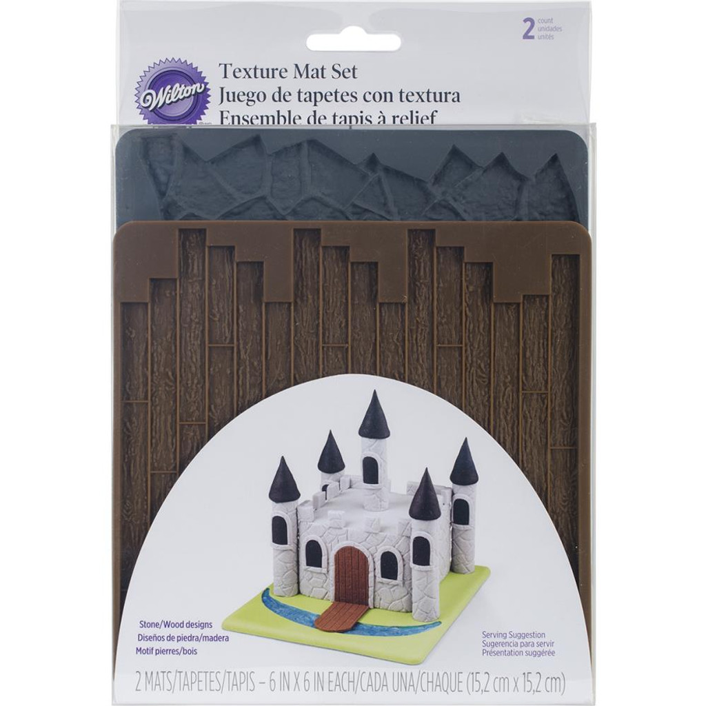 Flagstone and Wood Silicone Mat Set of 2