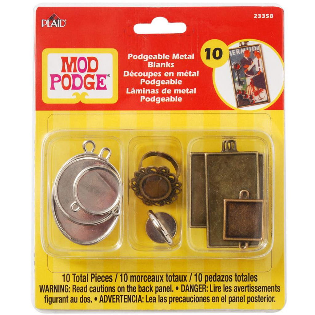 Mod Podge Podgeable Metal Pendant and Ring Blanks 10/Pkg