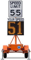 Wanco Radar Speed Sign Trailer, Battery Powered and Solar Charging, WSDT3-S