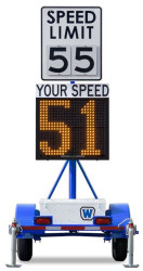 Wanco Police Radar Speed Sign Trailer, Battery Powered and Solar Charging, WSDT3-S
