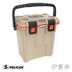 Pelican Elite 20 Quart Tall Cooler with Built In Bottle Opener, and Molded-In Can Holders