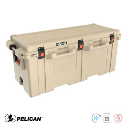 Pelican 250 Quart Cooler with Dual Handles and Press & Pull Latches (Tan, White)