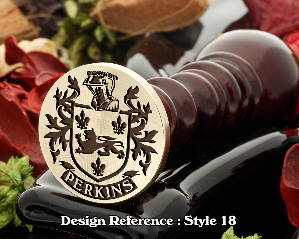 Perkins Family Crest Wax Seal D18