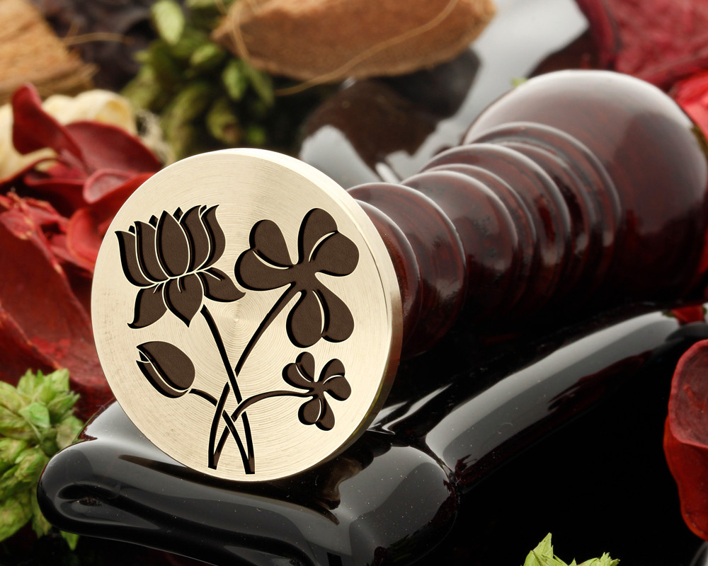 Water Lily and Shamrock Wax Seal Stamp