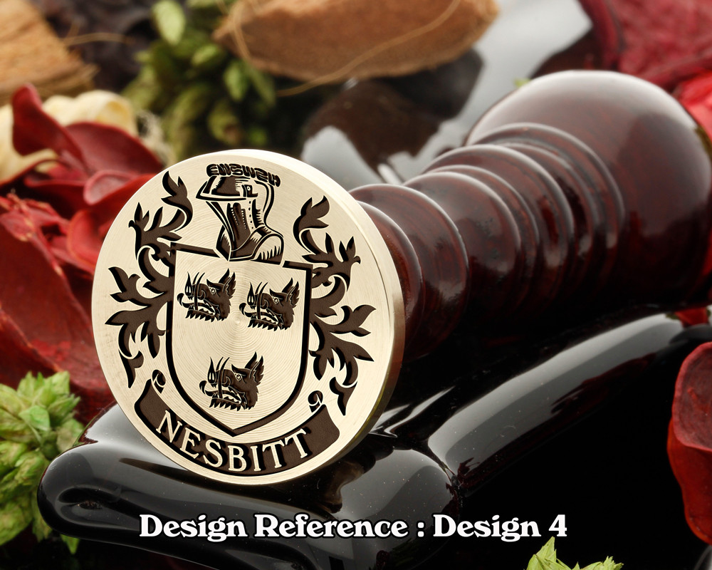 Nesbitt 1 Family Crest Wax Seal D4