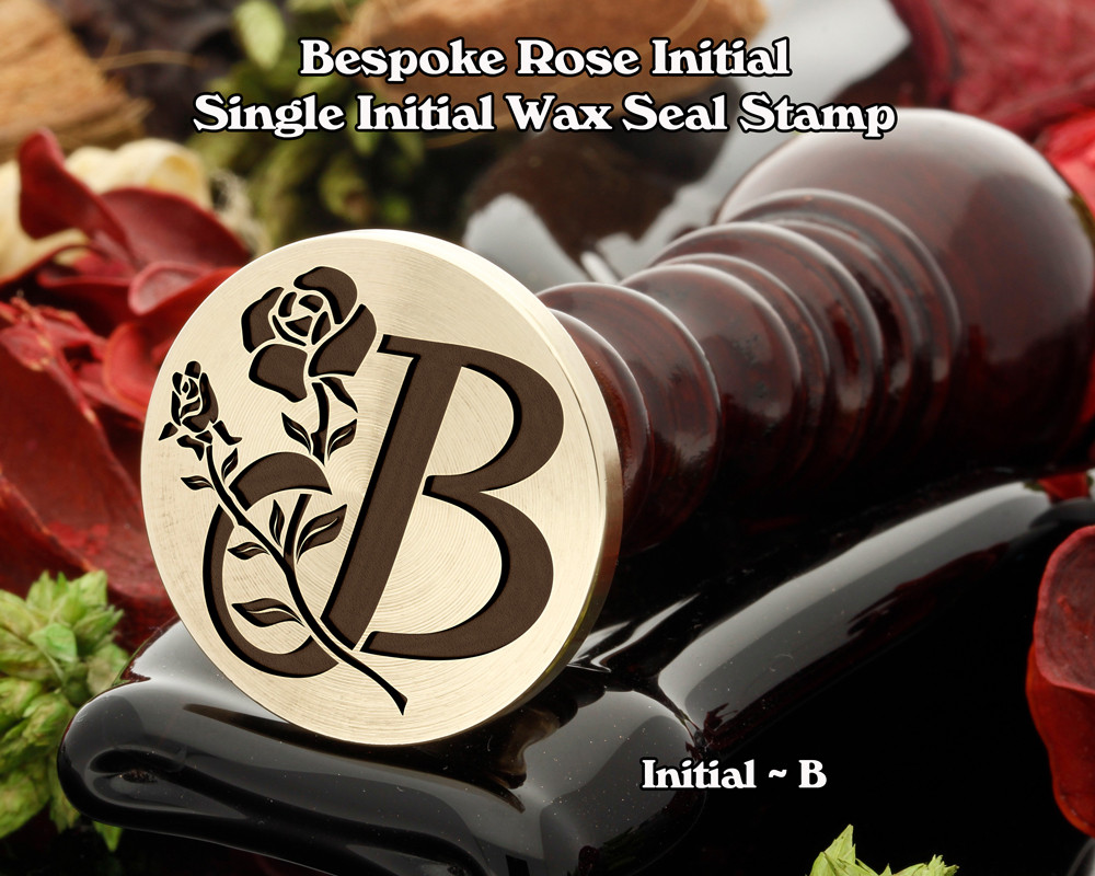 Rose Initial B Wax Seal Design - Engraved to Order
