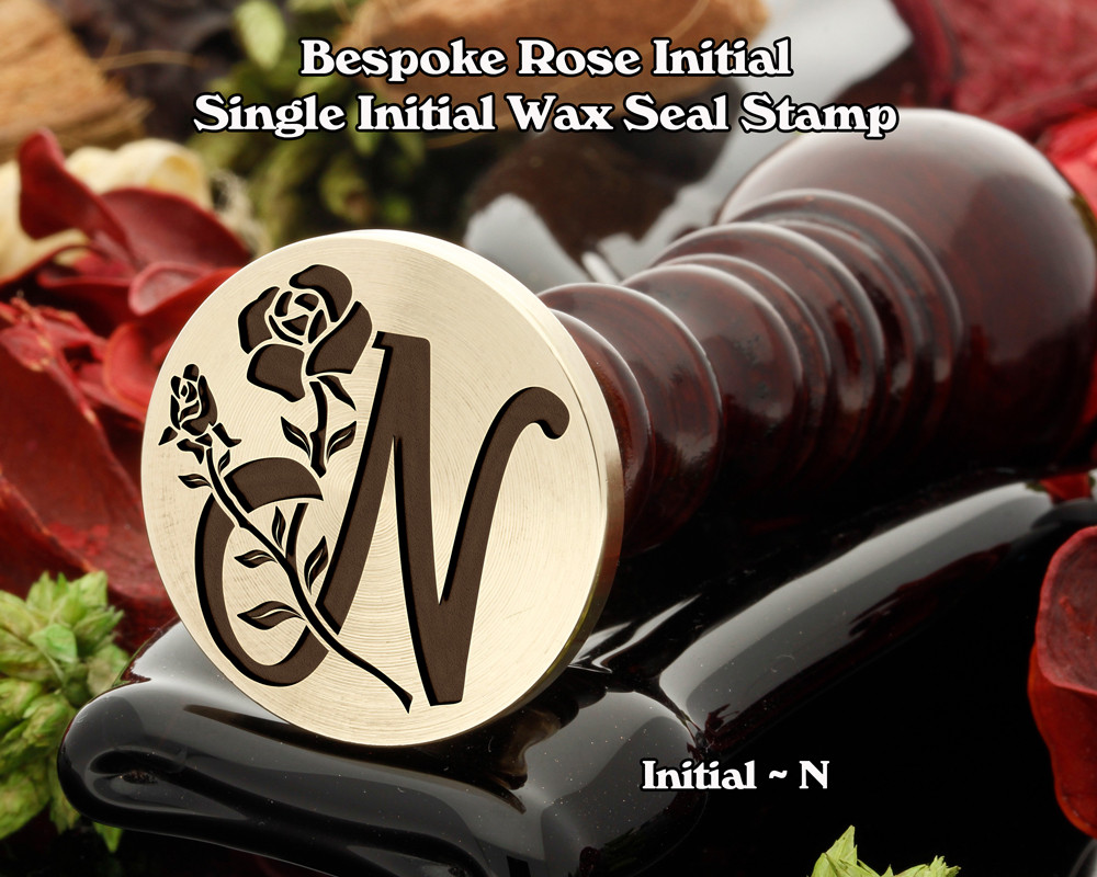 Rose Initial N Wax Seal Design - Engraved to Order