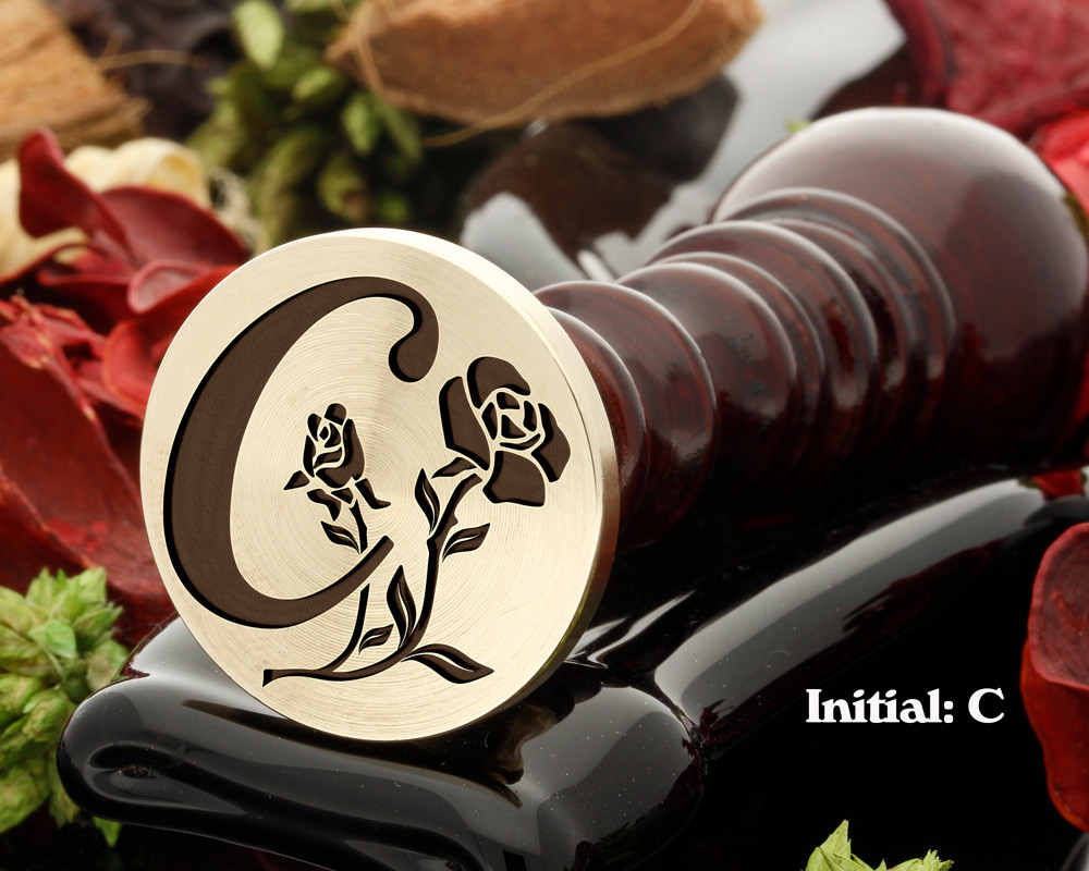 Rose Initial C Wax Seal Design - Engraved to Order