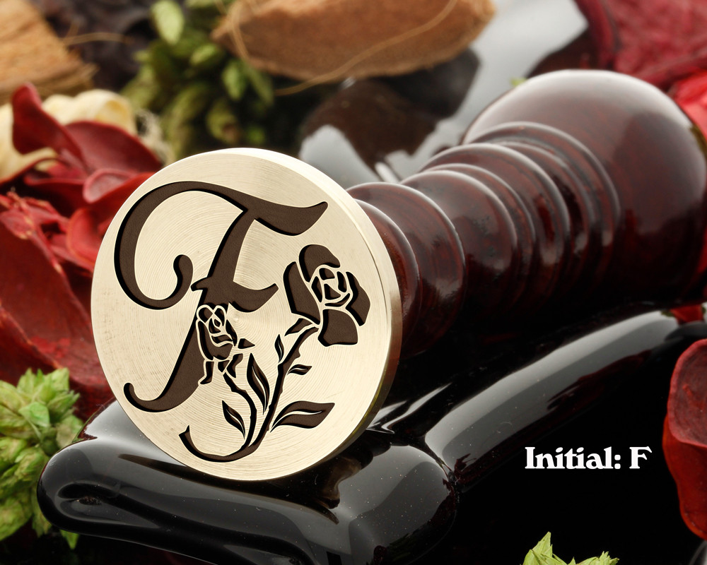 Rose Initial F Wax Seal Design - Engraved to Order