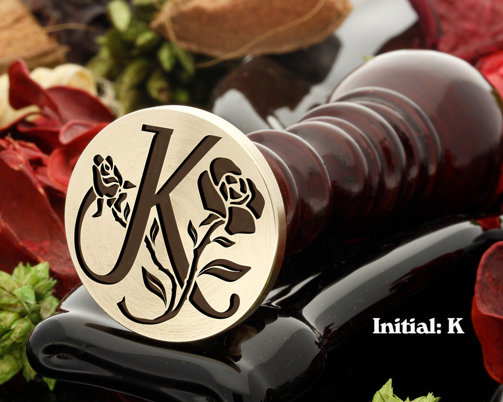Rose Initial K Wax Seal Design - Engraved to Order