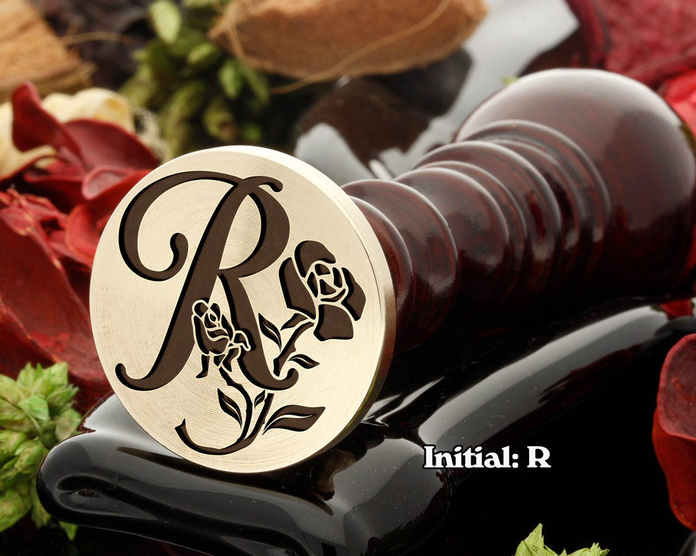 Rose Initial R Wax Seal Design - Engraved to Order