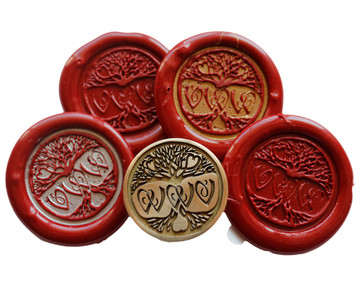 Design with initials, shown with plain & high-lighted wax seal impressions
