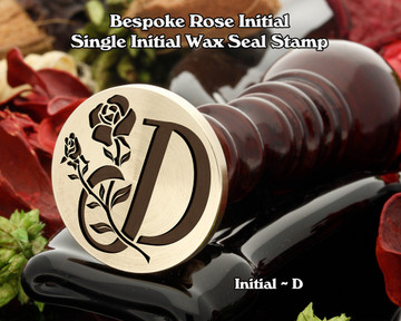 Rose Initial D Wax Seal Design - Engraved to Order