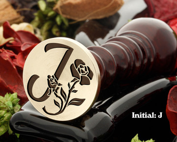 Rose Initial J Wax Seal Design - Engraved to Order