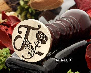 Rose Initial T Wax Seal Design - Engraved to Order