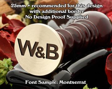 Montserrat Initial Wax Seal example W&B