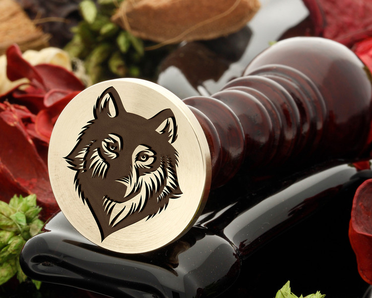 Wolf wax seal reversed for engraving