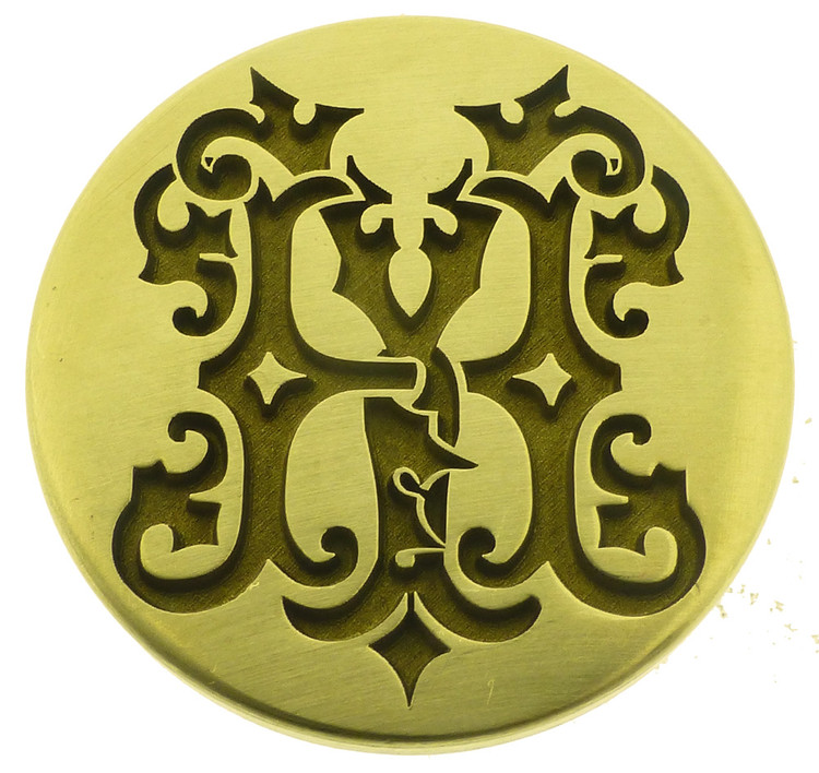 Engraved wax seal HY YH design, photo reversed