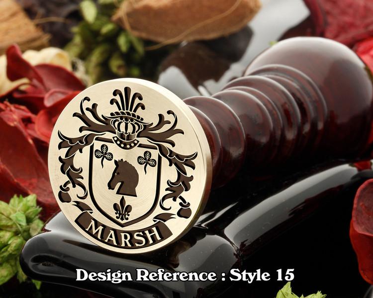 Marsh family crest wax seal D15