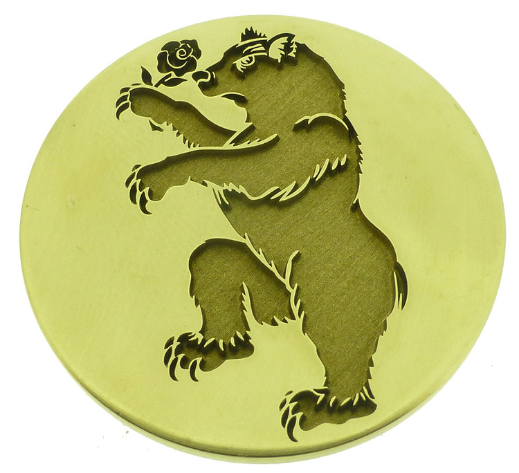 Engraved wax seal - Wild Bear with Rose, 25mm size recommended