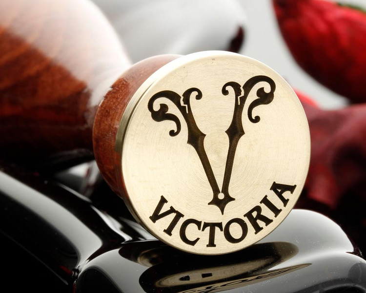 Victorian Monogram Wax Seal Single Initial V - option to add extra text
