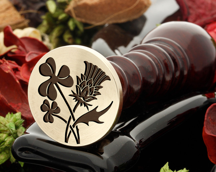Shamrock and Thistle Wax Seal Stamp, shamrock on the left in the sealing wax.