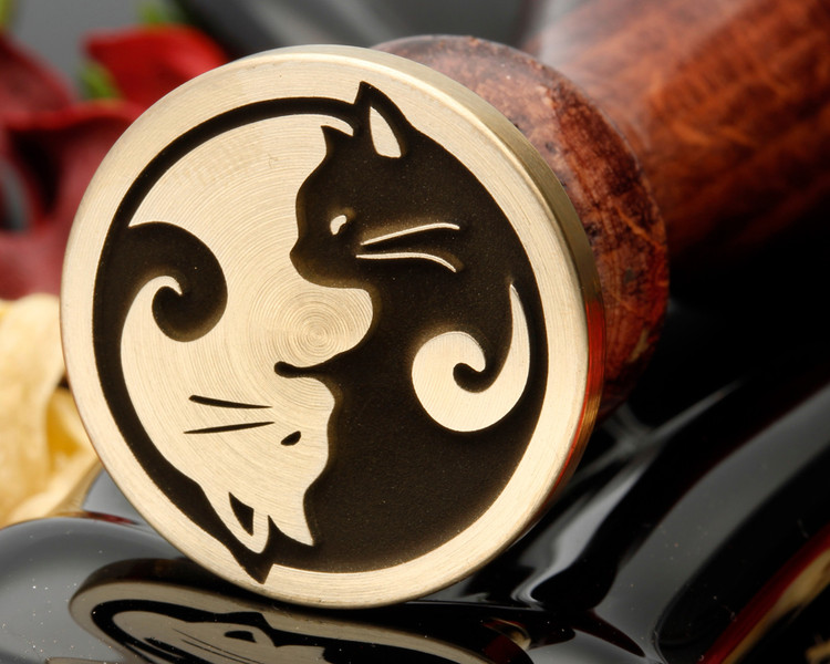 Cat Yin N Yang Bespoke design Wax Seal Stamp from 25mm