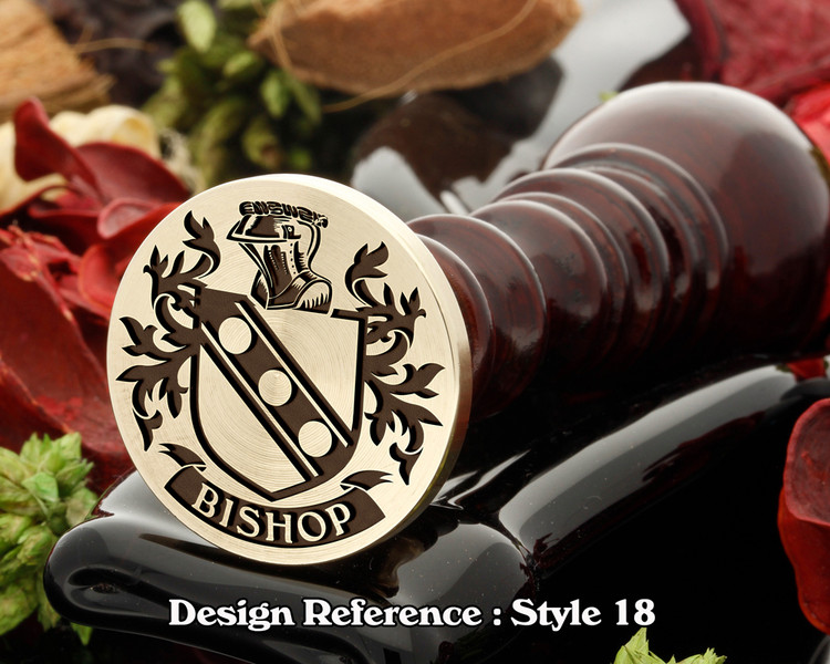 Bishop Family Crest Wax Seal D18