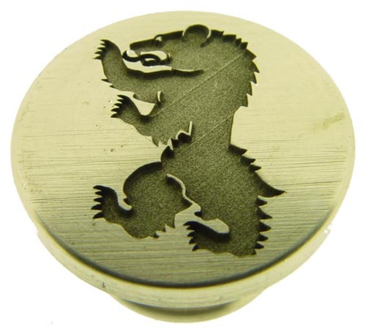 Wild Bear 1 engraved wax seal stamp, photo reversed