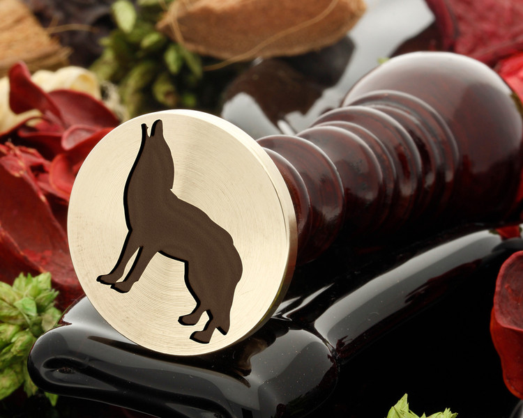 Wolf howling wax seal reversed for engraving