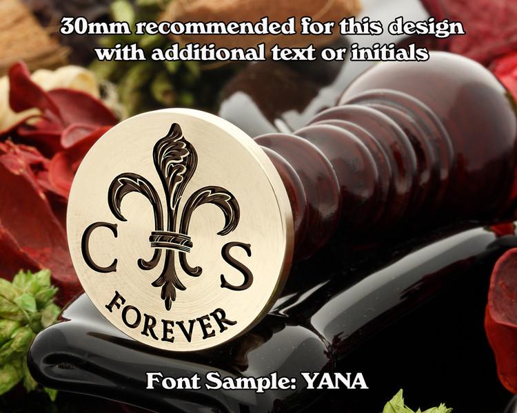 Fleur De Lys D11, text and initials extra cost.