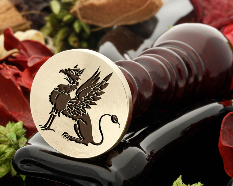 Griffin wax seal, reversed for engraving