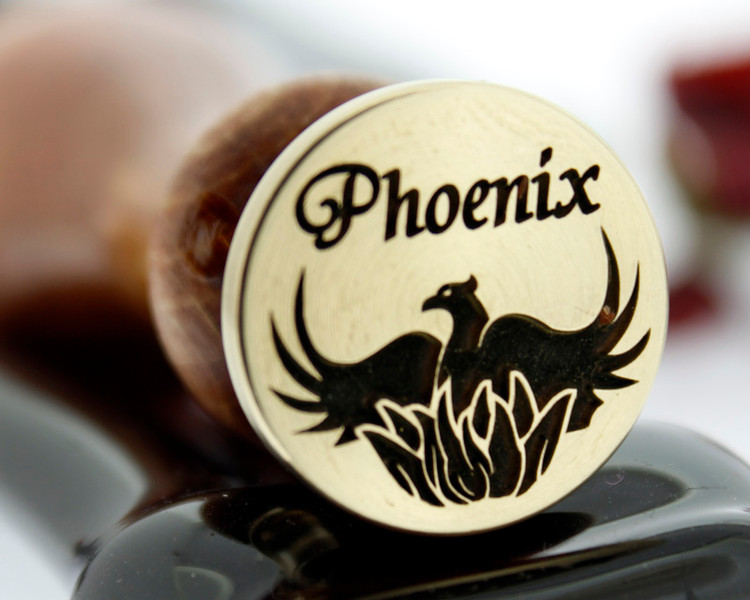 Phoenix wax seal, reversed for engraving