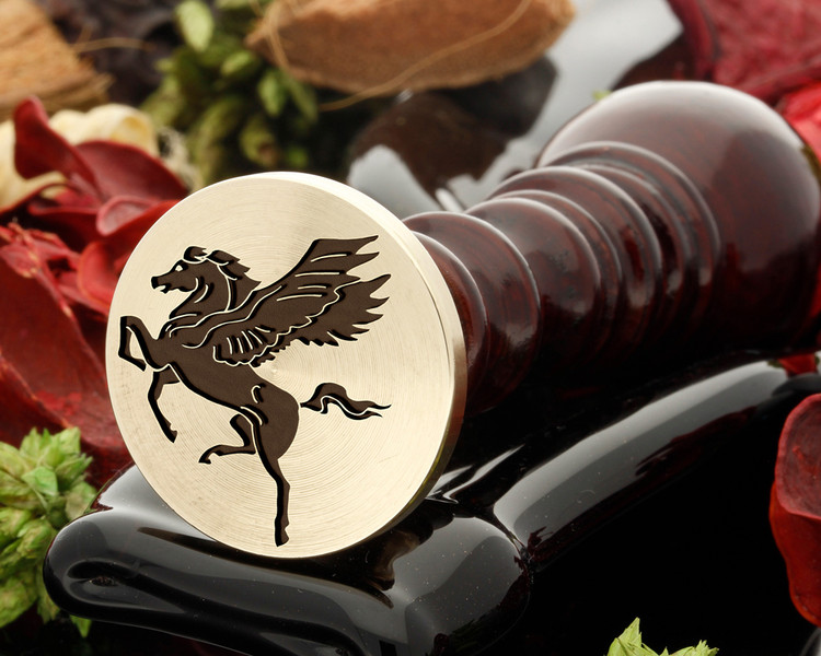 Pegasus wax seal, reversed for engraving