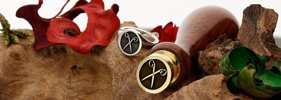 Custom engraved wax seals and signet rings, silver, gold, personalised to order