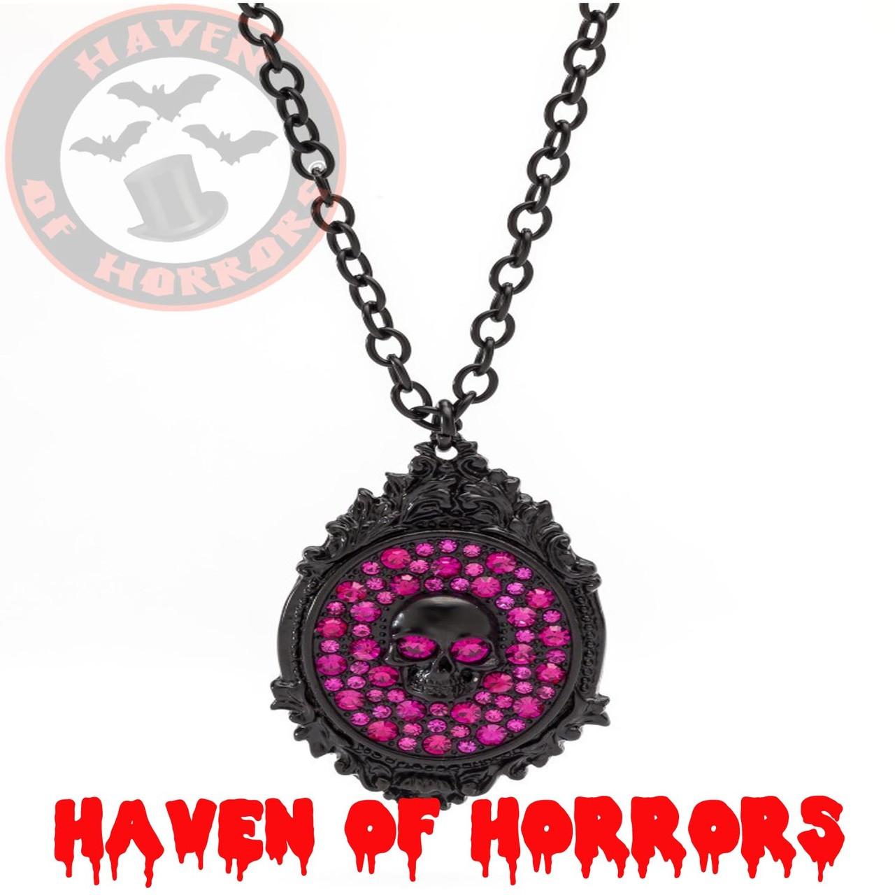 Skull Frame Hot Pink Pendant - havenofhorrors
