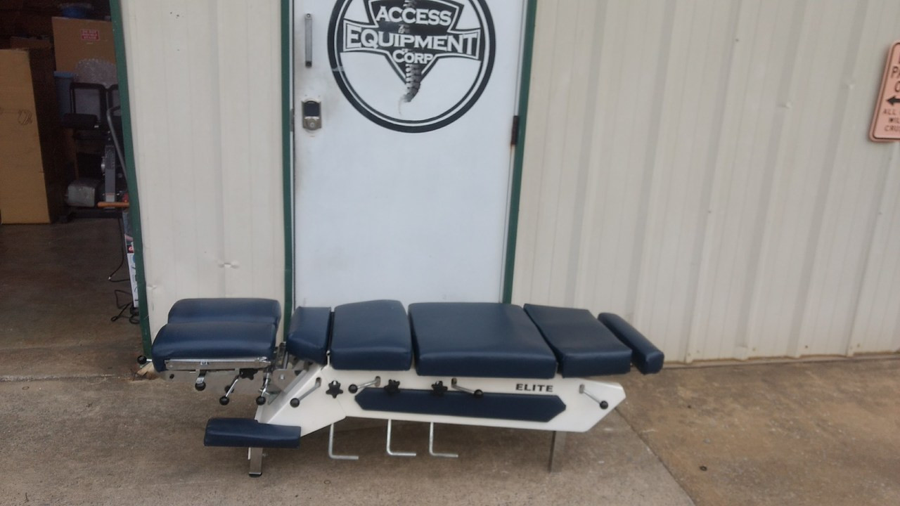 Used Elite Stationary Table with 4 Drops - Navy Top
