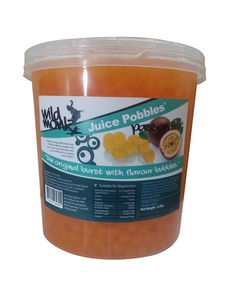 3.2kg Wild Monk PASSION FRUIT Juice Pobbles for Bubble Tea (Case of 4 Tubs)