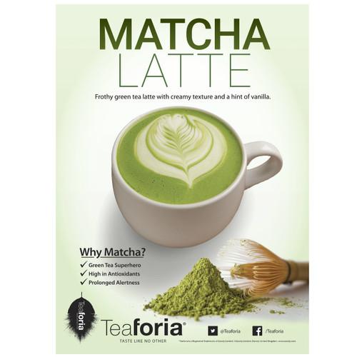 Teaforia Matcha Green Tea Latte POS Poster (A3)