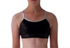 Dance top, metallic black and silver trim